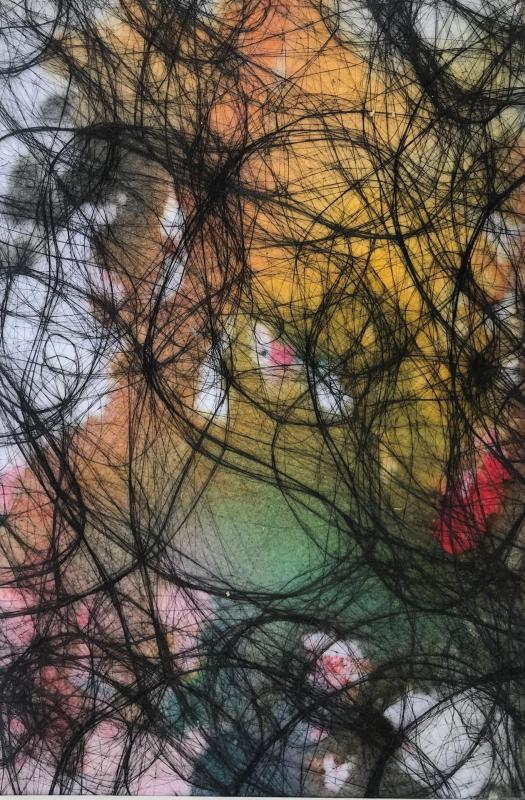 Silke konschak eveil 20x30 cm 2017 acryl cheveux s vlies